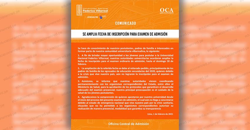UNFV 2021: Amplían Fecha de Inscripción para Examen de Admisión a la Universidad Federico Villarreal [COMUNICADO OFICIAL] www.unfv.edu.pe