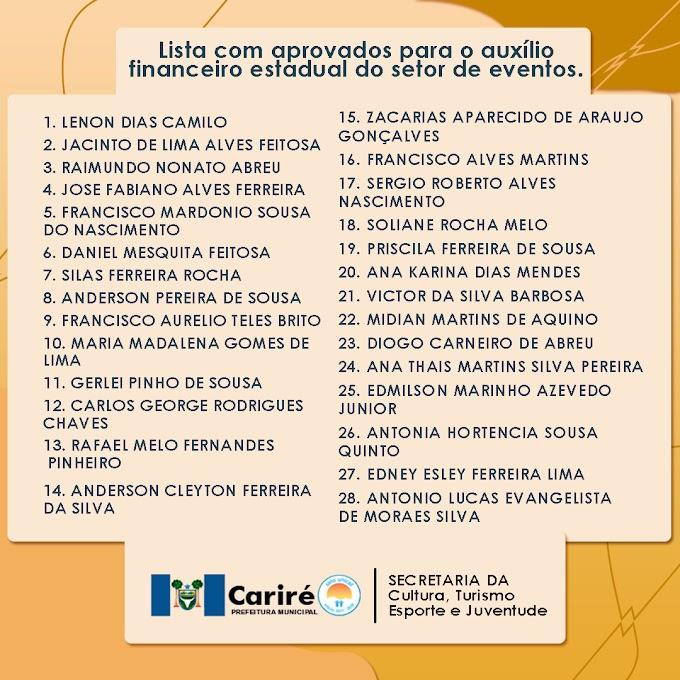 Lista de profissionais do setor de eventos de Cariré aprovados para o auxílio financeiro estadual