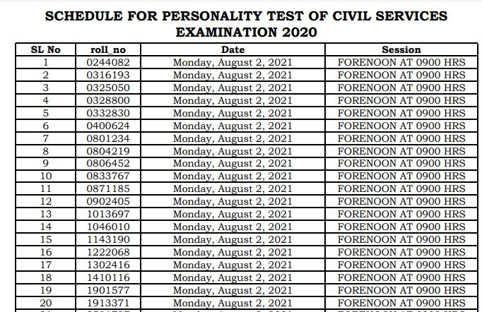 Civil Services (Main) Examination, 2020