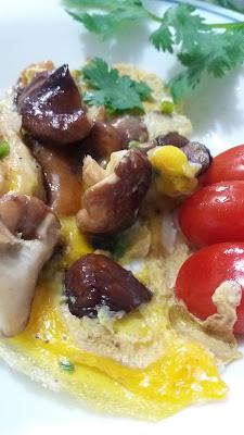 Omelette aux champignons shiitaké frais ;Omelette aux champignons shiitaké frais
