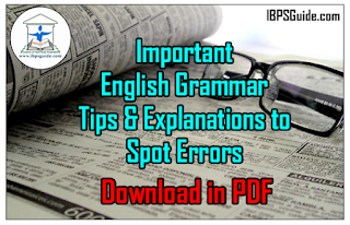 Important English Grammar Tips & Explanations to Spot Errors - Download in PDF