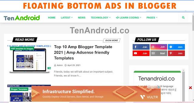 Responsive Bottom Sticky Ads in Blogger Desktop Preview