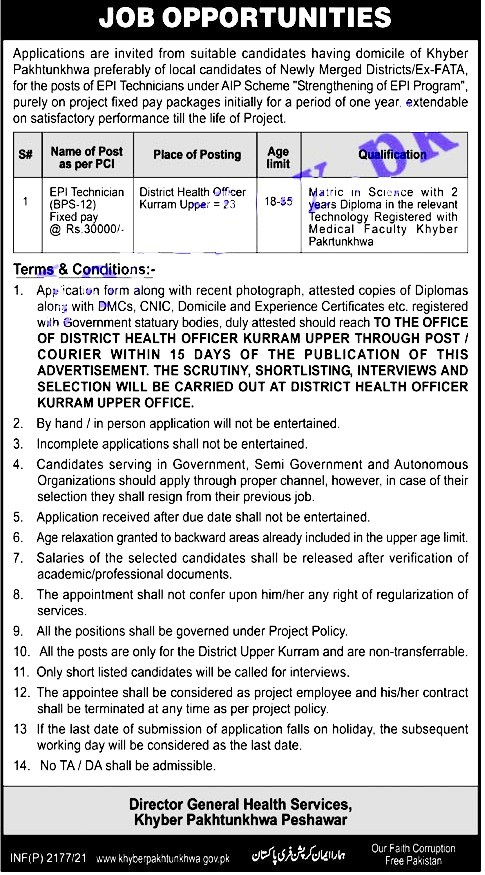 New Jobs in Health Department 2021 - District Health Authority  DHA