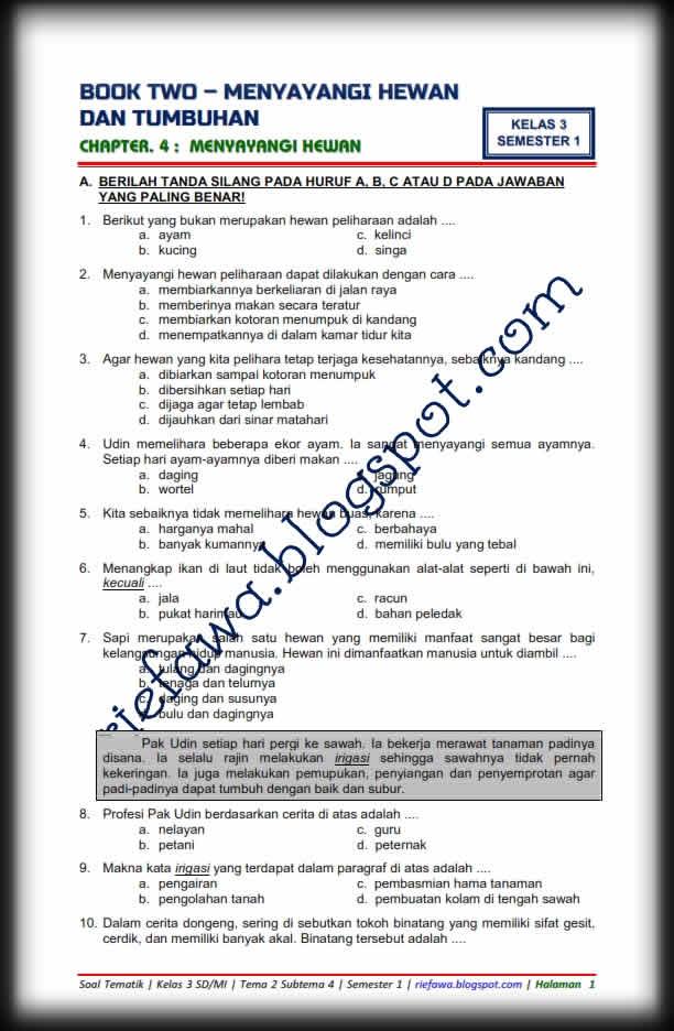 Kelas tematik 1 sd pdf rpp