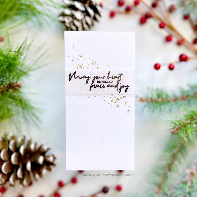 Cardbomb, Maria Willis,Tonic Studios,Tonic Studios Stamp Club,Tonic Studios USA,christmas,holiday,stamping,die cutting,inkblending,heat embossing,