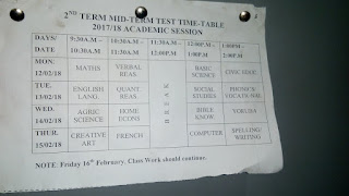 Second Mid Term Test Time Table