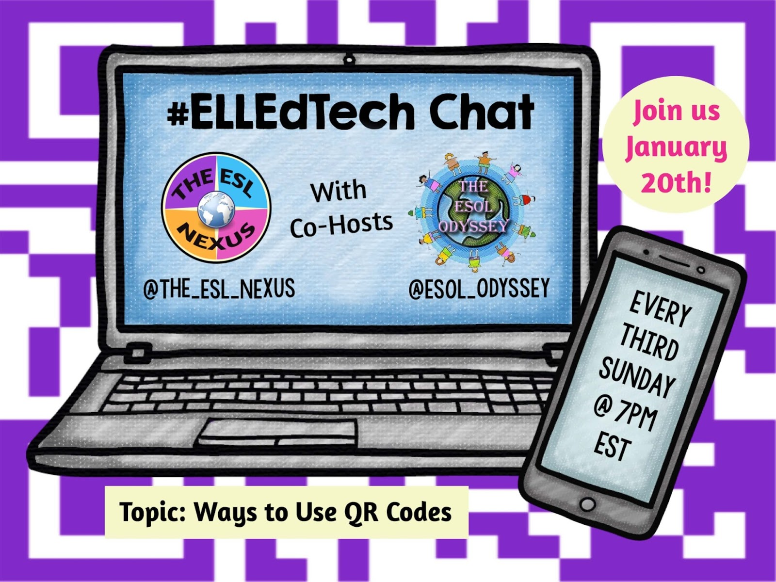 Share your ideas about using QR codes in the classroom in the January 2018 #ELLEdTech Twitter chat! | The ESL Nexus