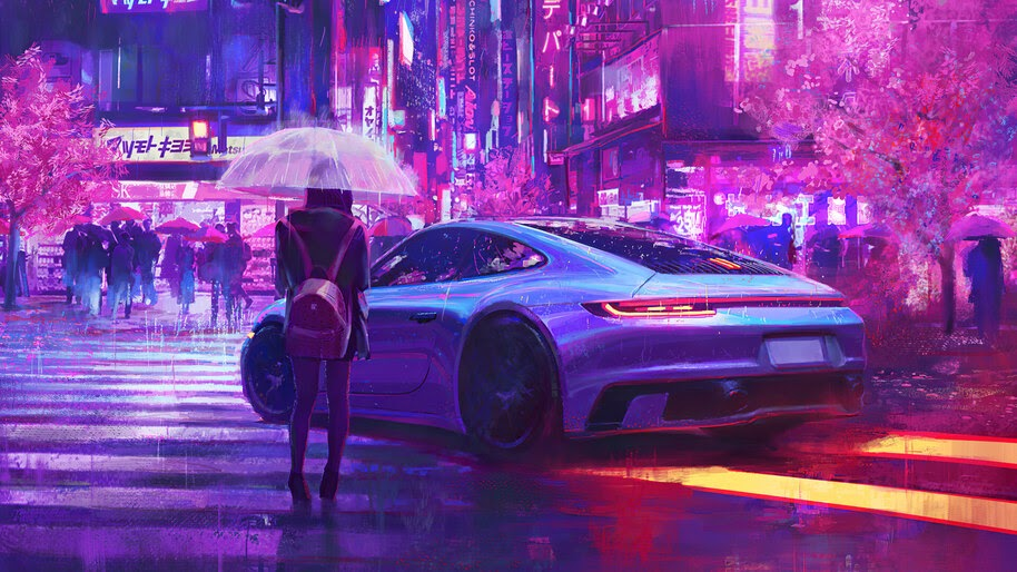 Girl, Night, Raining, City, Car, 4K, #4.3049