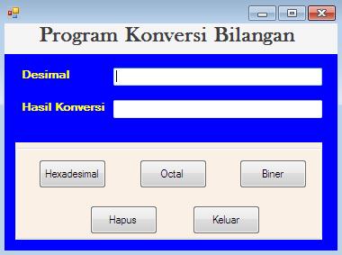 Program konversi bilangan pada VB Net