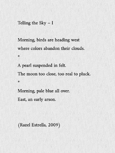 Telling the sky – I. A poem by Razel Estrella.