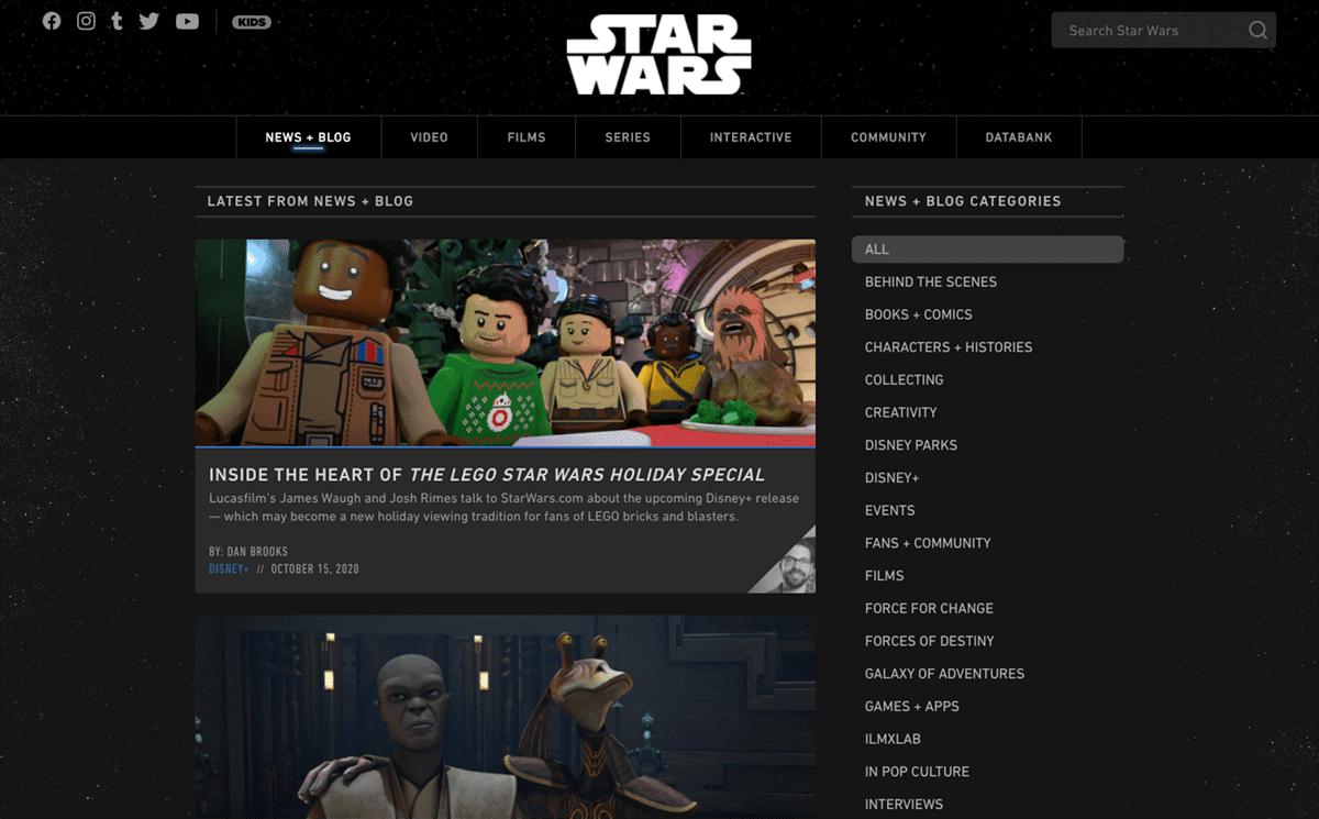 Screengrab of Star War's dark mode website