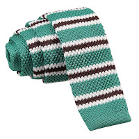 MENS KNITTED TEAL WITH BROWN AND WHITE THIN STRIPES TIE