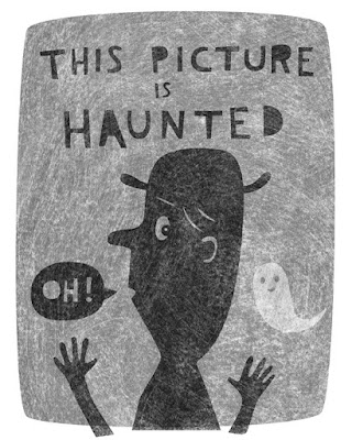 Illustration of a ghost haunting someone in a picture