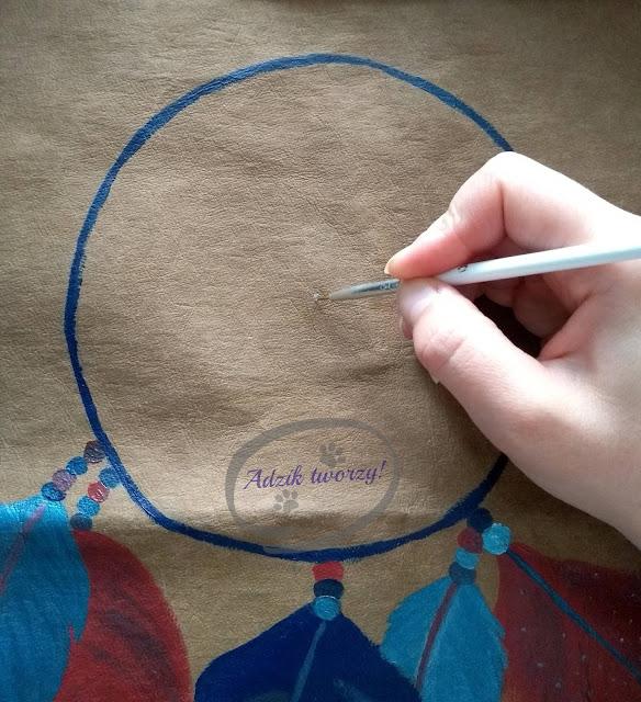 jak namalować łapacz snów DIY farbami do tkanin