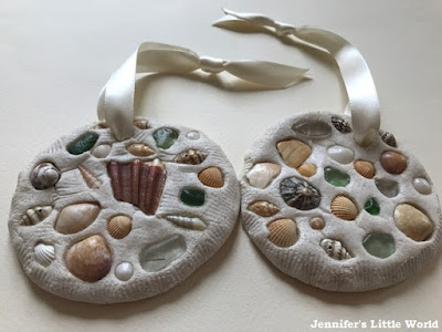 Salt dough and shells ornament