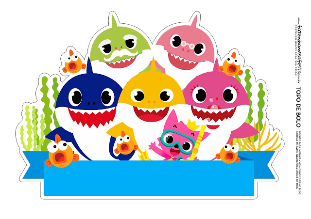 Baby Shark Under the Sea: Free Printable Cake Toppers.