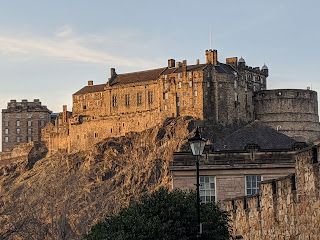 View of Edinburgh Castle bathed in sunshine