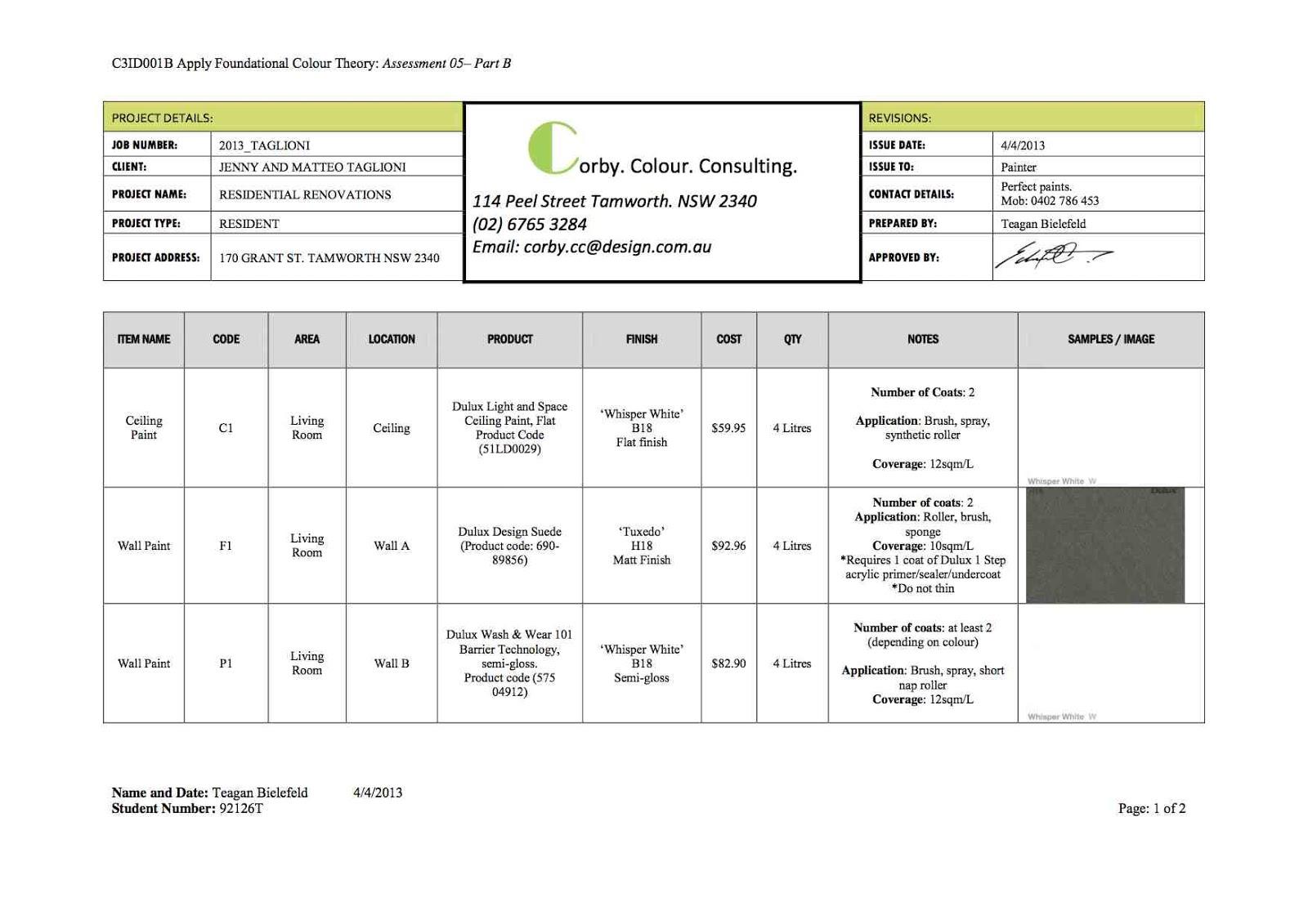 Interiors c3id001b produce a paint schedule - Interior design schedule template ...