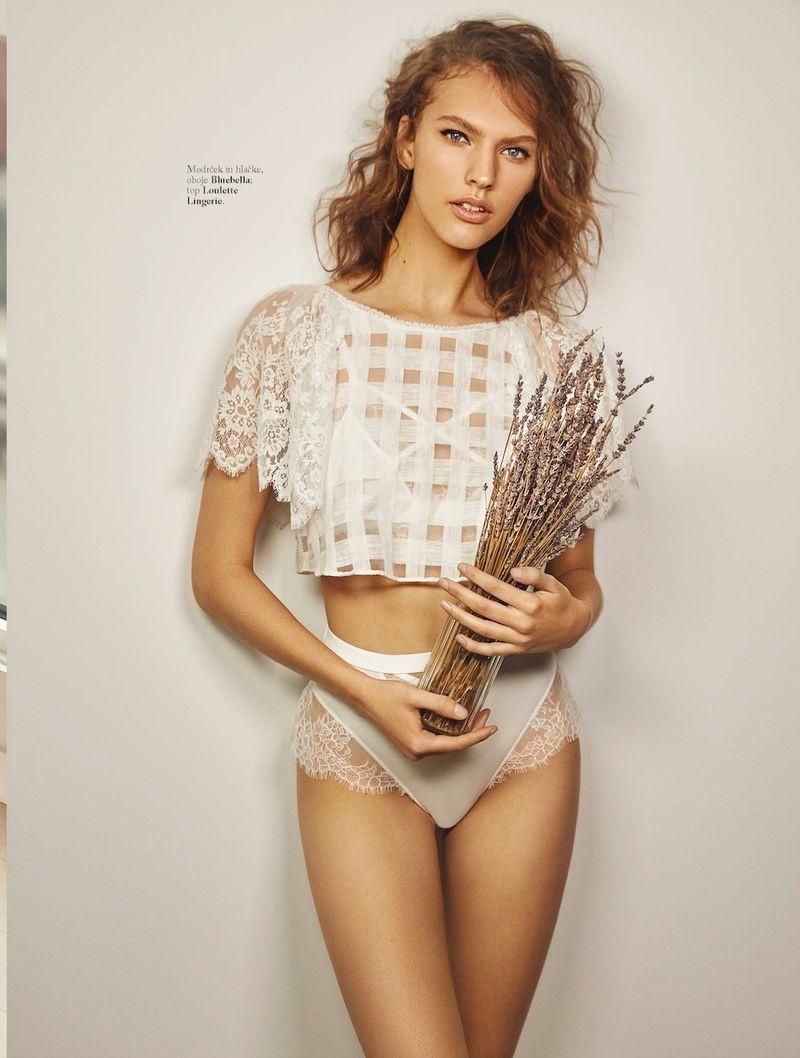 Maggie Jablonski flaunts delicate lingerie for Elle Slovenia