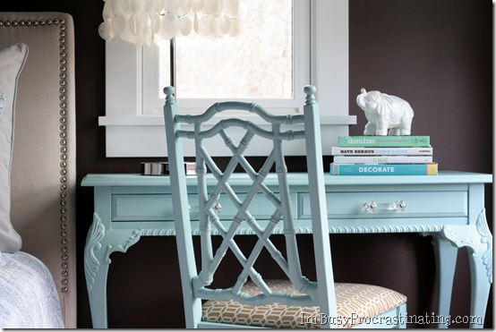Apartment Home Decor Light Blue Refurbished Painted Desk with Matching Chair White Mirror Upholstered Headboard