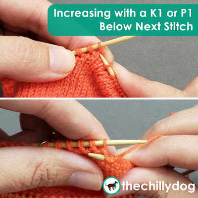 Knitting Video Tutorial: Learn how to make an increase in your knitting by working a K1 or P1 into the stitch below the next stitch on your needle.