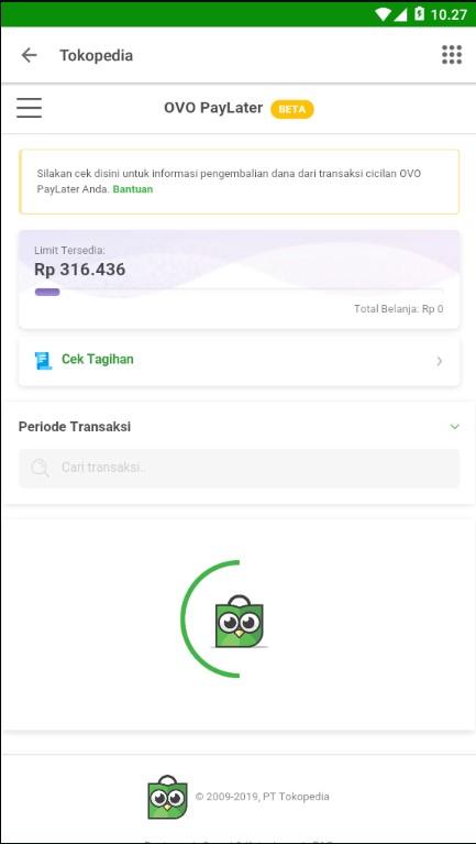 Cek Tagihan OVO PayLater di Aplikasi Marketplace Tokopedia.