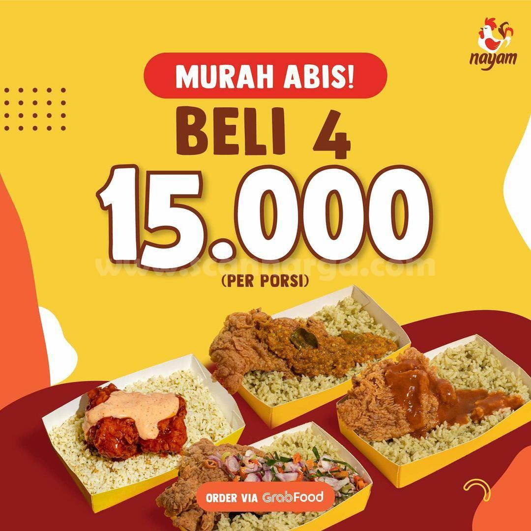 NAYAM Promo Spesial GRABFOOD Murah Abis – Beli 4 Hanya Rp 15.000/porsi