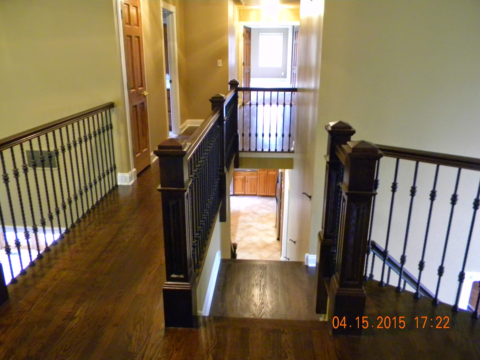 Wood Stairs And Rails And Iron Balusters Oak Handrail And
