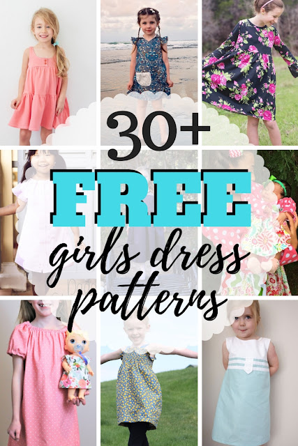 Giant list of easy and free girls dress patterns for infants to teens.