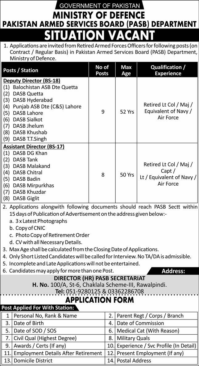 Ministry of Defence Rawalpindi Jobs