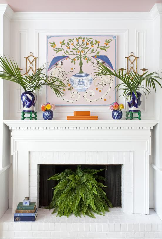 The pink clutch one room challenge spring reveal - Decorate non working fireplace ...
