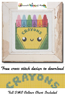 Cute Kawaii Box of Crayons Cross Stitch Pattern