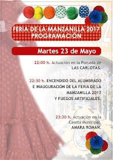 Feria de la Manzanilla 2017 - Programa día 23 de mayo