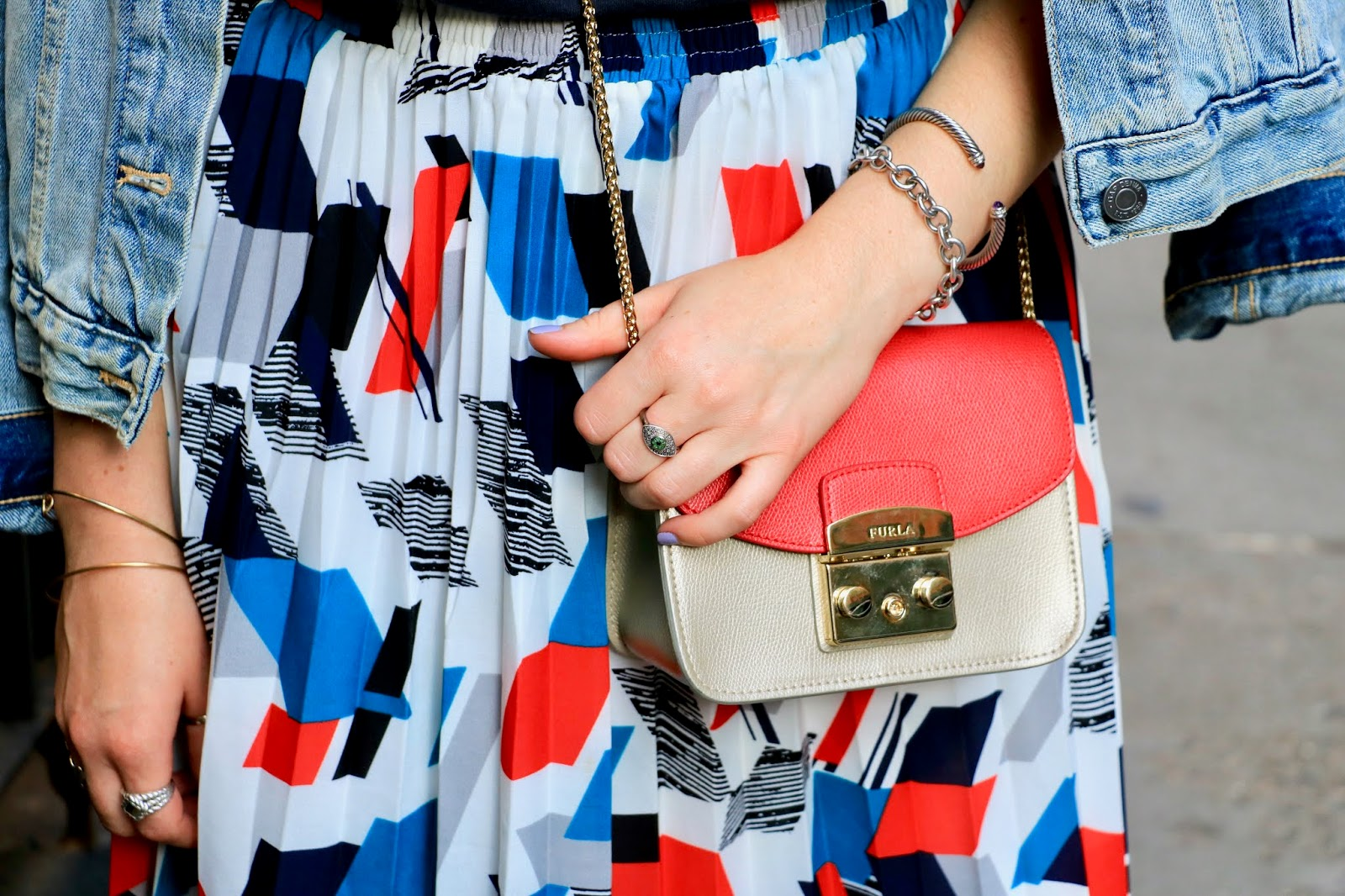 Nyc fashion blogger Kathleen Harper's red Furla purse