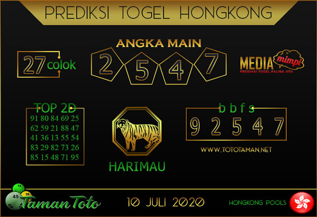 Prediksi Togel HONGKONG TAMAN TOTO 10 JULI 2020