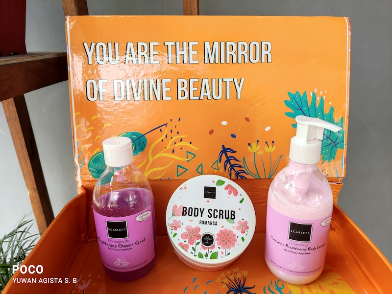 Rangkaian Body Care Scarlett (Body Scrub Romansa, Shower Scrub Pomegranate & Body Lotion Charming) Bikin Harum Seharian