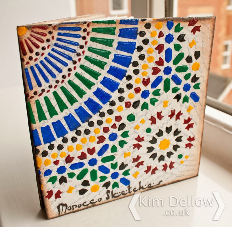 Moroccan tile inspired Travel art journal by Kim Dellow