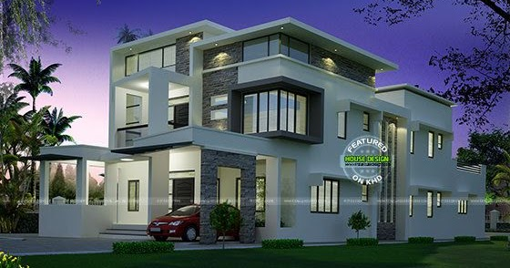 Flat roof contemporary night view kerala home design and for Ground floor vs first floor