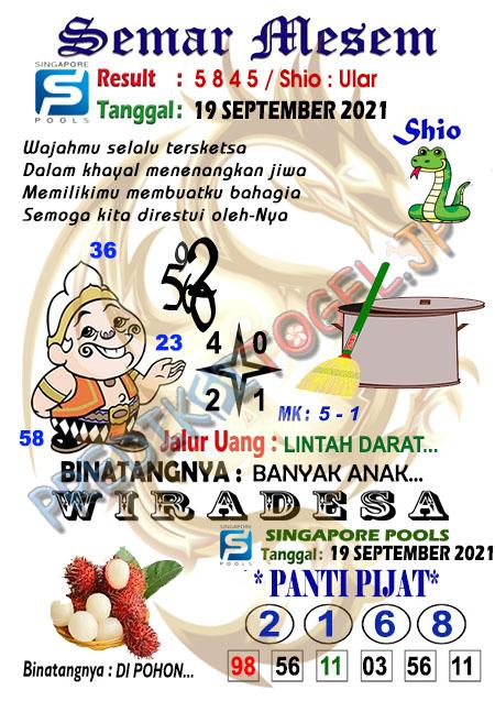 Syair Semar Mesem SGP Minggu 19-Sep-2021