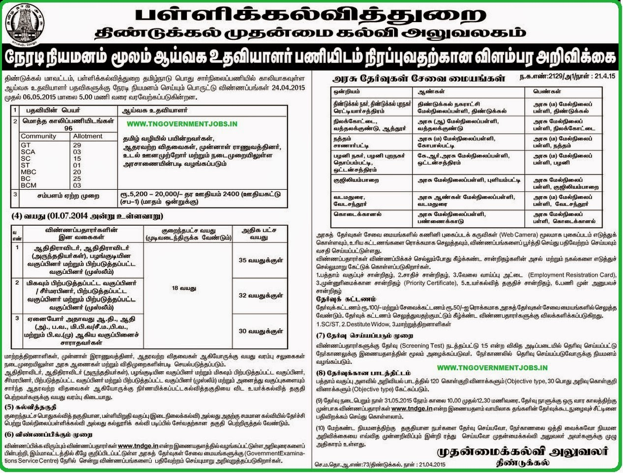 Dindigul CEO Lab Asst Recruitments 2015 (www.tngovernmentjobs.in)
