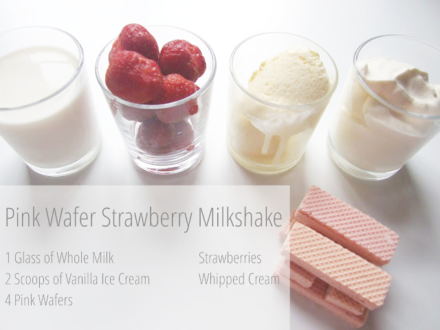 Pink Wafer and Strawberry Milkshake