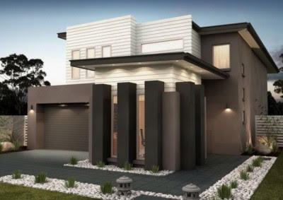 Tampak Depan Rumah Minimalis 2 Lantai tropis