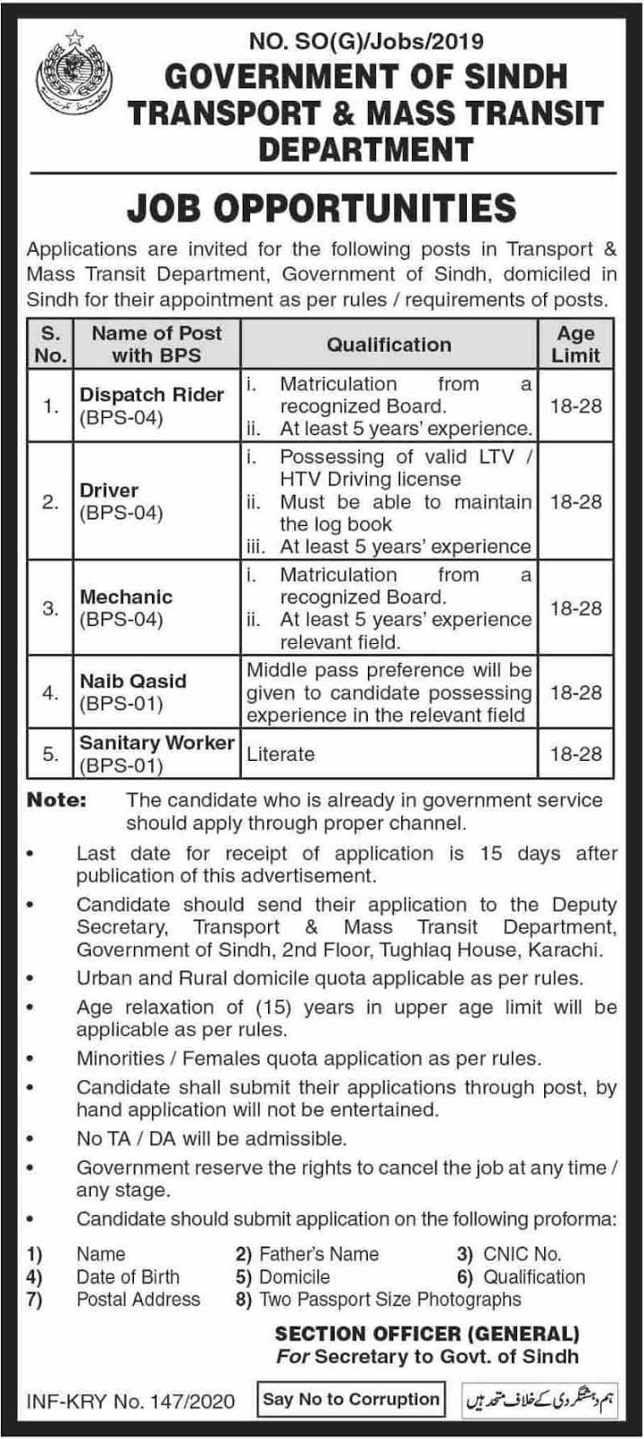 Transport & Mass Transit Department Government of Sindh Jobs