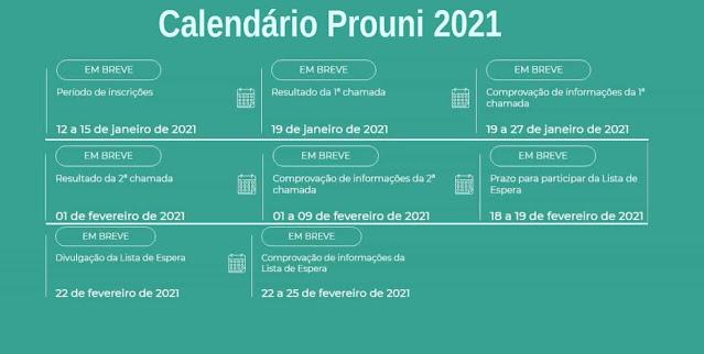 Calendário Prouni 2021