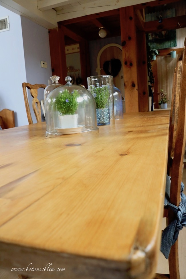 French Country Pine Table Refinish after photo shows final finish of food safe polyurethane gel