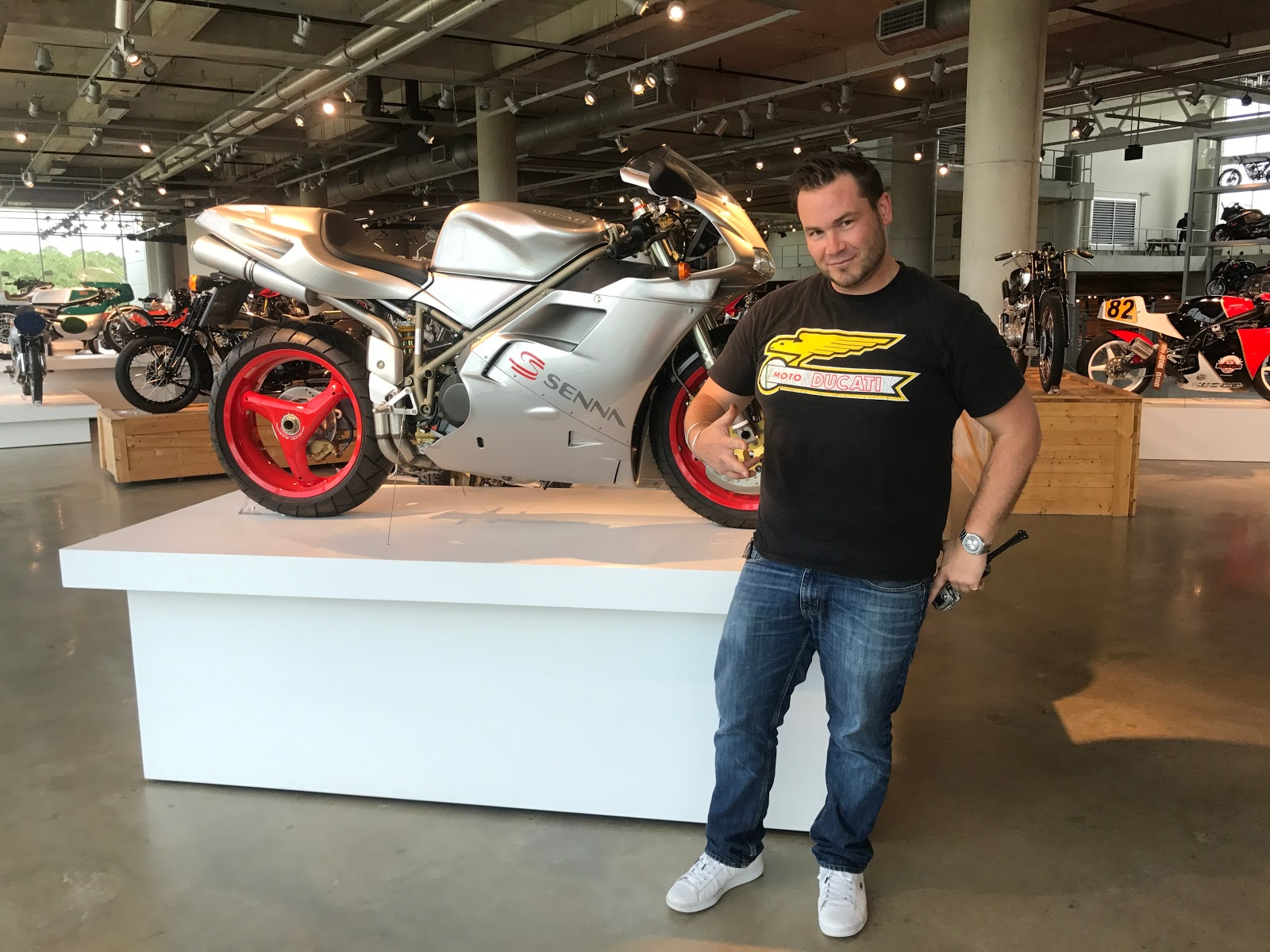 Tigh Loughhead on a 1997 Ducati 916 Senna Edition Superbike Motorcycle