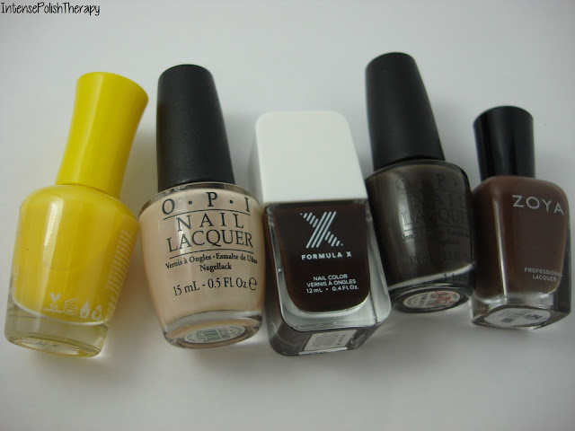 J. Cat's Guluxy - Gemini, OPI Glints of Glinda, Formula X Decadent, OPI Get in the Expresso Lane & Zoya Desiree