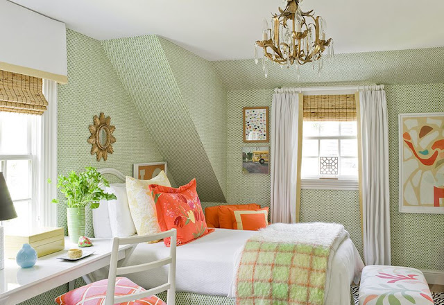 green and organge peach bedroom decor interior