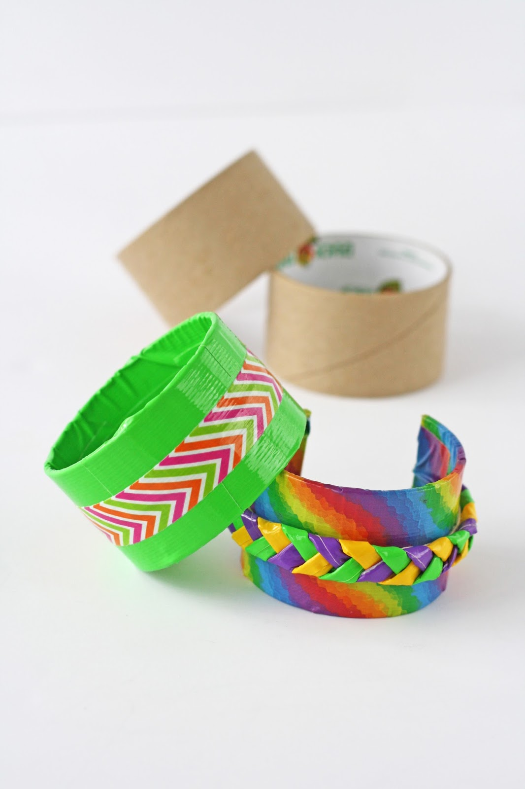 Bracelet made with tape roll and duct tape