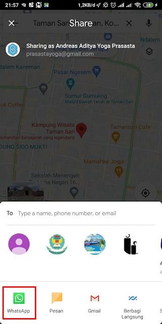 Cara Share Lokasi Google Maps ke WA 9
